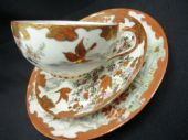 Oriental tea trio red and gilt